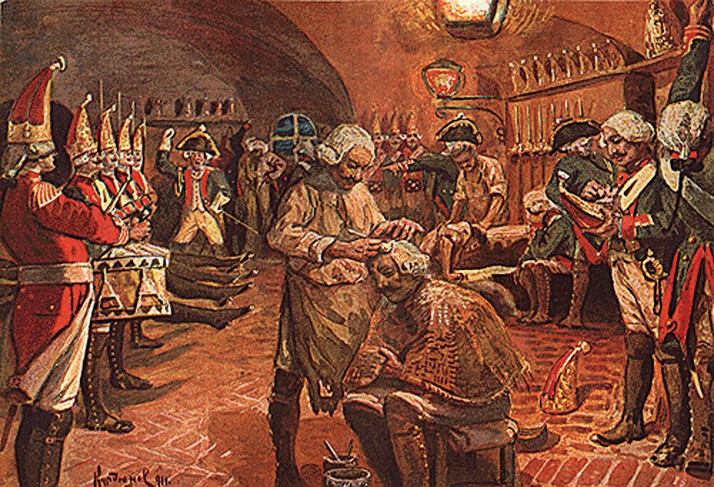 В начале XIX века неотъемлемой частью обмундирования солдат и офицеров был парик, намазанный салом и посыпанный мукой. Таким образом достигалась идеальная «укладка» и белизна