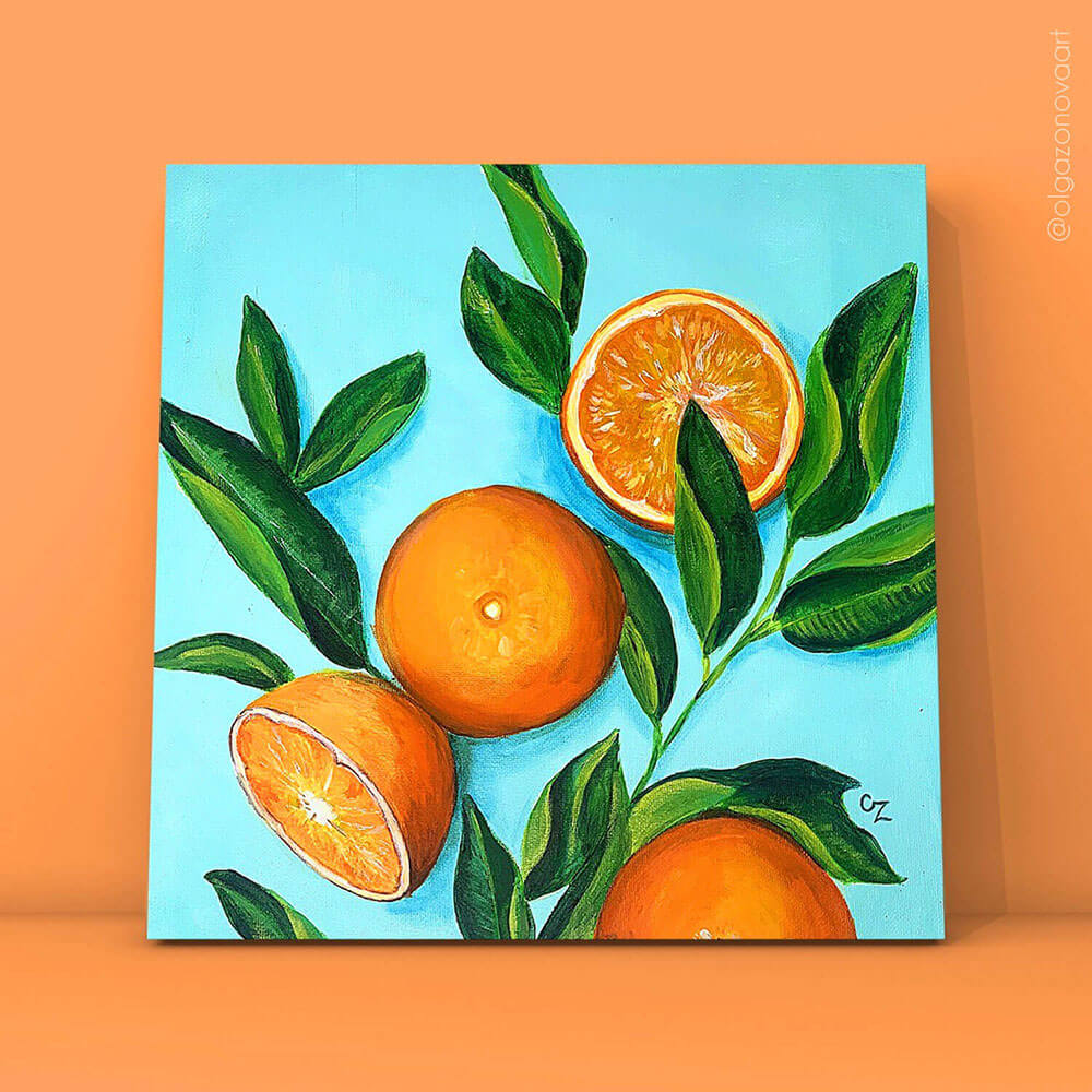 Orange acrylic painting by Olga Zonova. Fruit collection