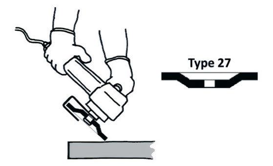 Использовать только для шлифования круги Тип 27.