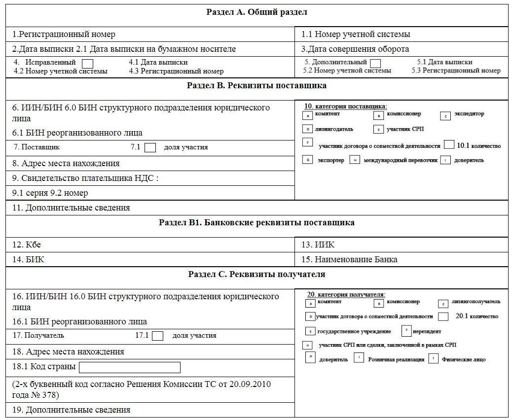 Электронная счет фактура РК образец