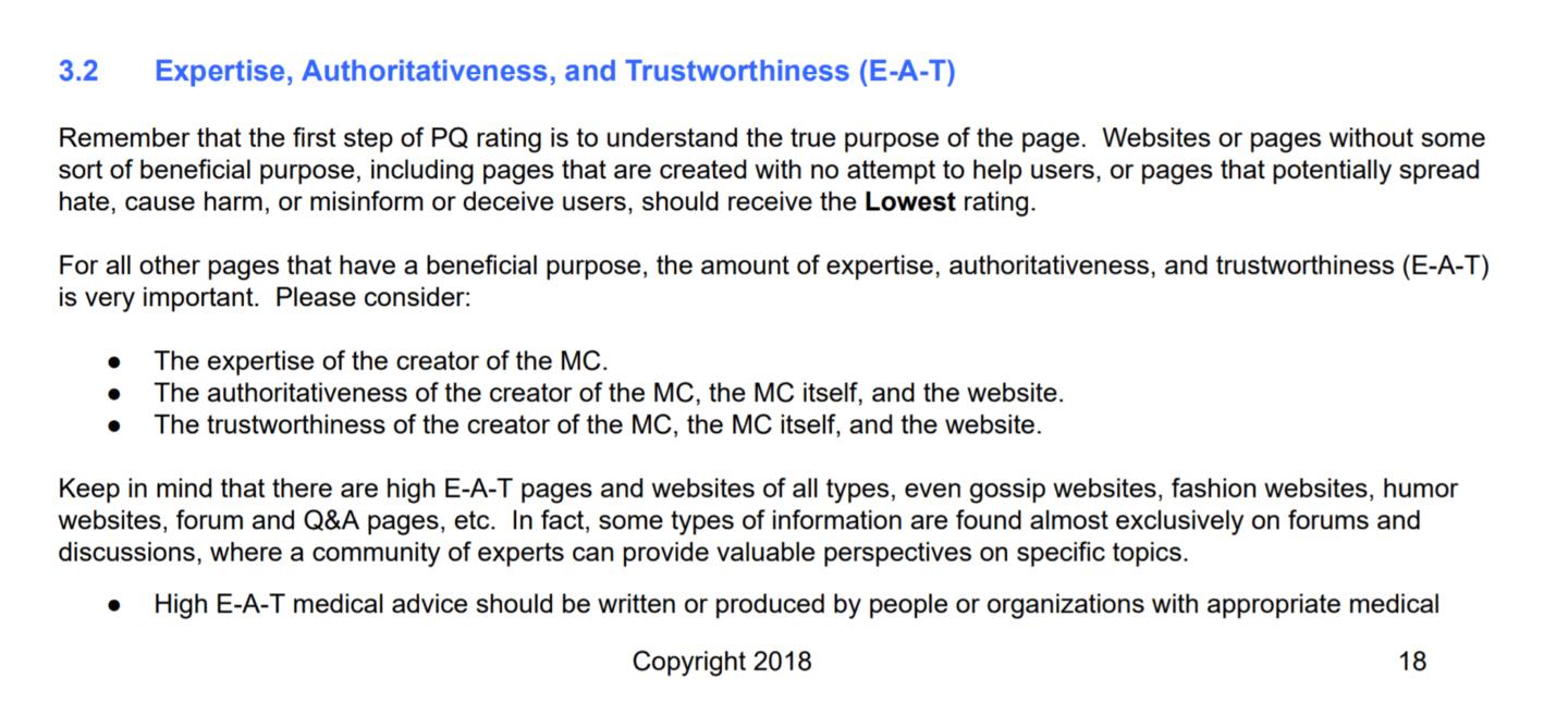 фокус на ЭАН в рекомендациях для асессоров Google