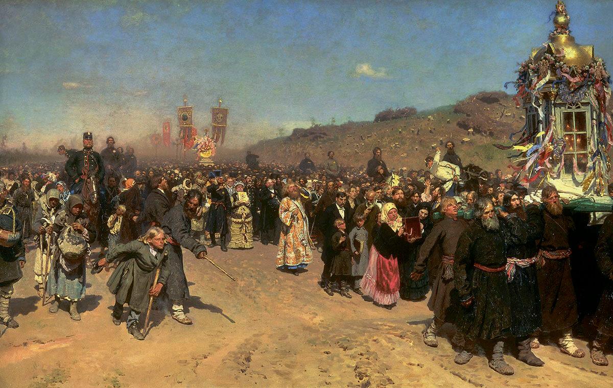 И. Е. Репин. «Крестный ход в Курской губернии». 1883 г.