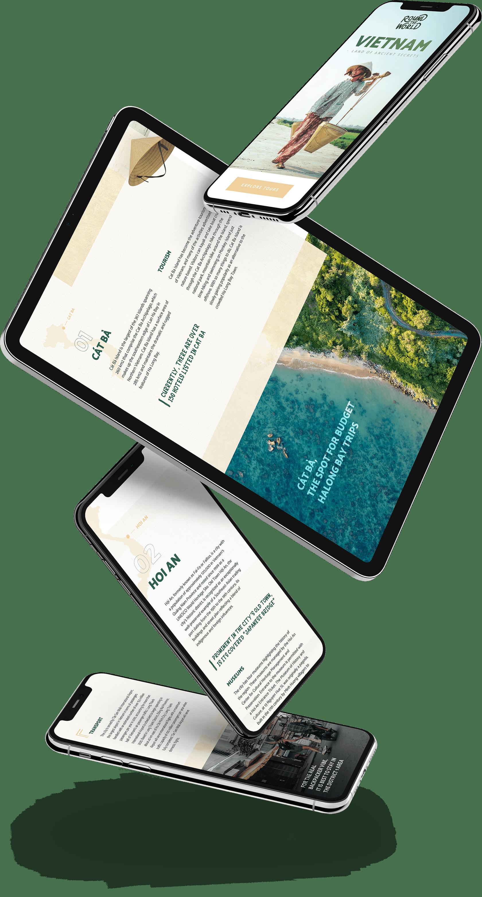 Website ontwerp voor mobiel en tablet voor de home pagina project Round The World