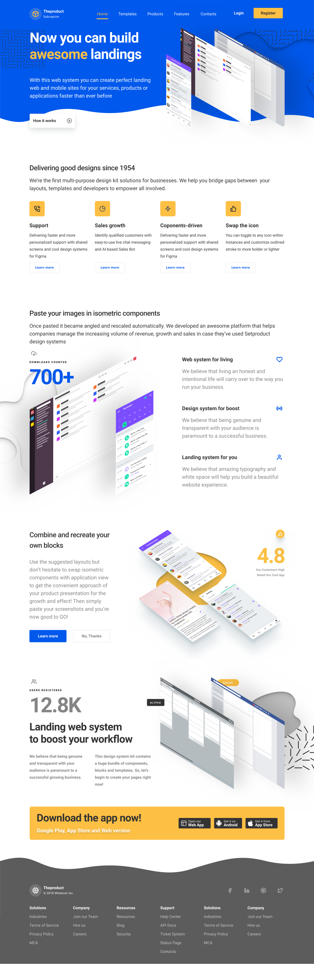 Figma landing pages for desktop