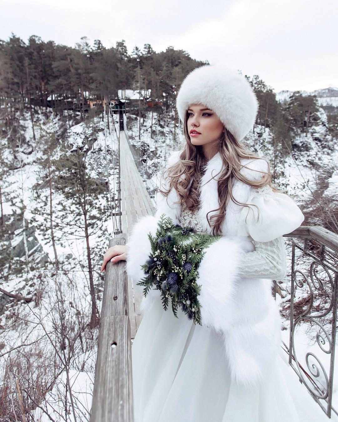 платье невесты зимой