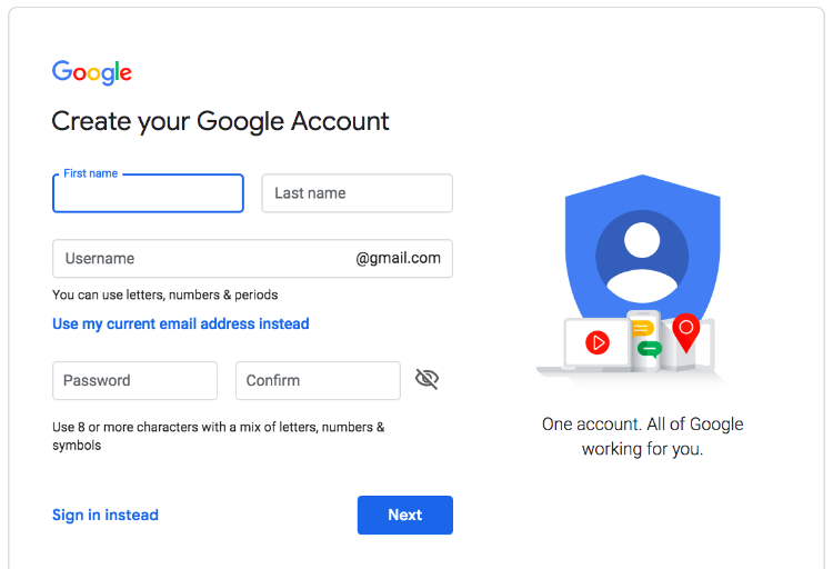 create google account