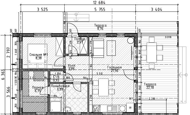 Планировка LATO-60 SAUNA PLUS 3,4 м и крытая галерея вариант 2