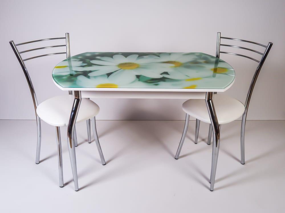 Столы кухонные стеклянные раскладные с фотопечатью
