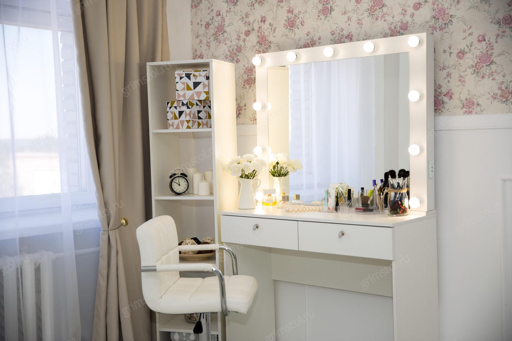 Картинки туалетного столика с зеркалом и подсветкой