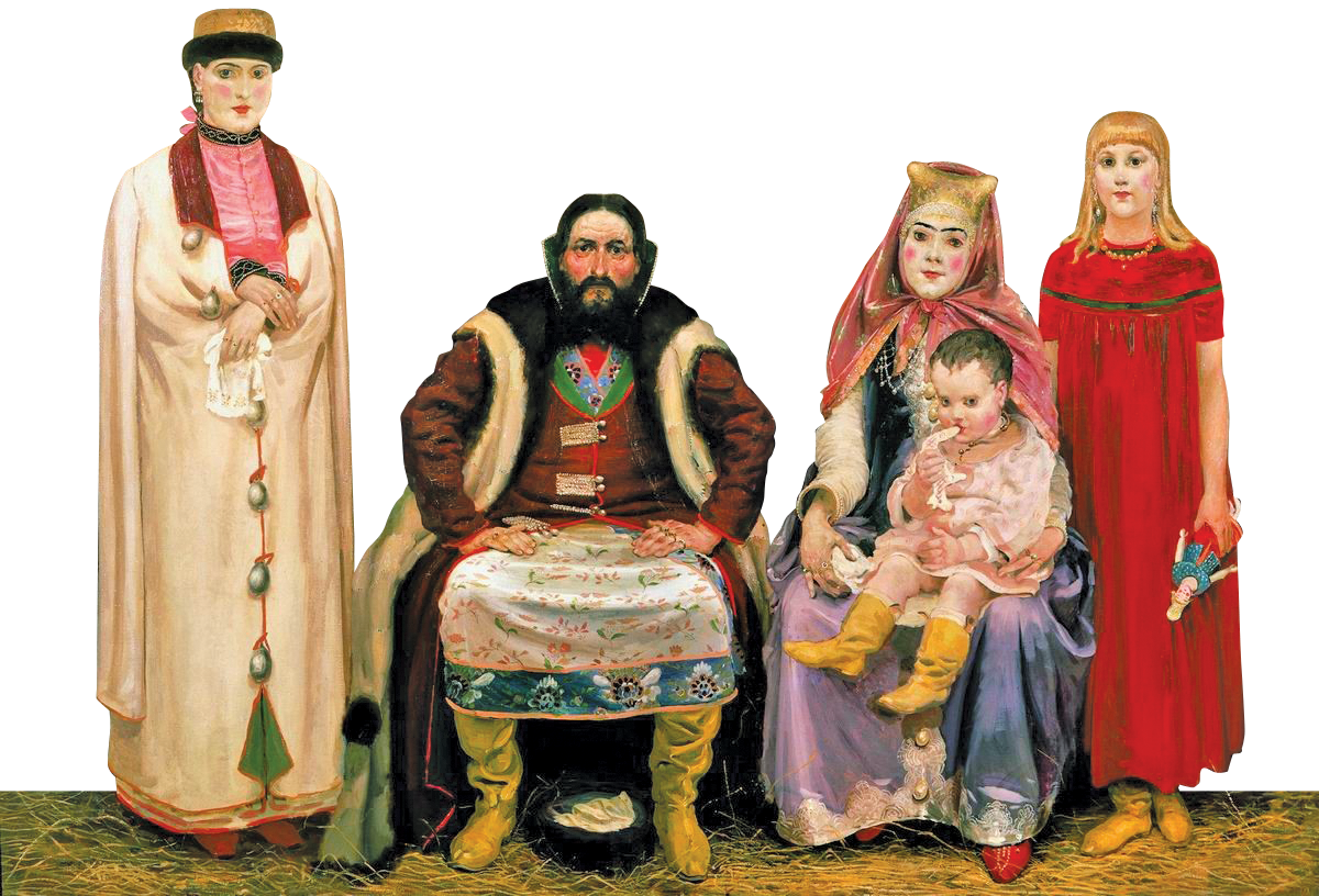 Картина «Семья купца в XVII веке» Андрея Рябушкина