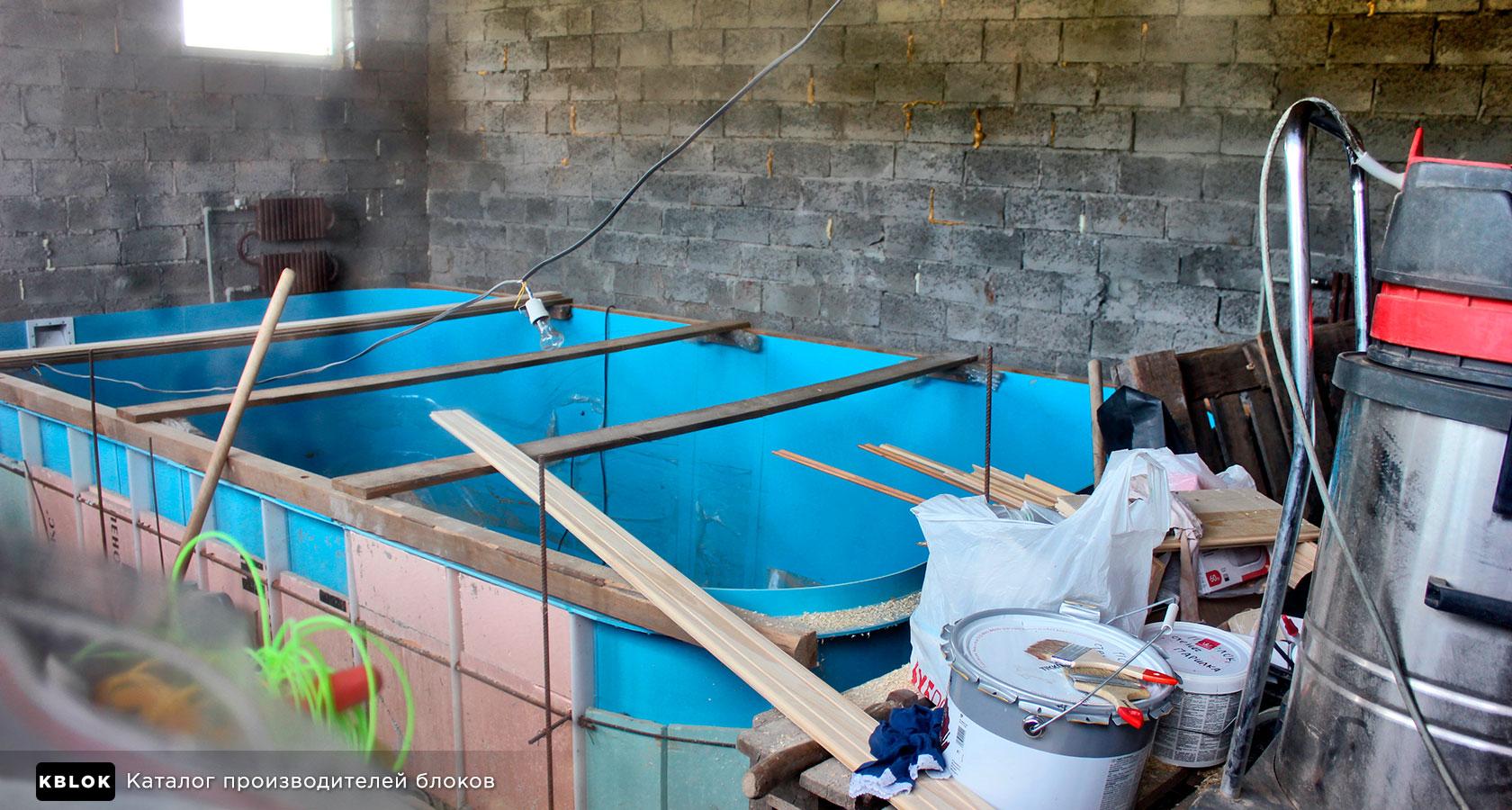 монтаж бассейна в бане