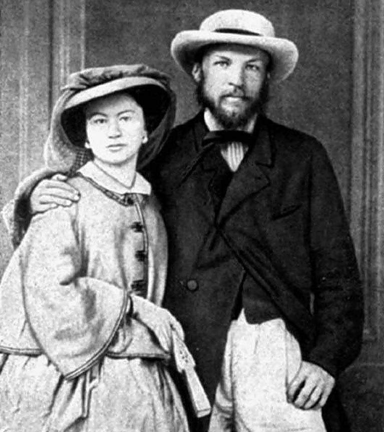 Дмитрий Менделеев с первой женой Феозвой Лещёвой