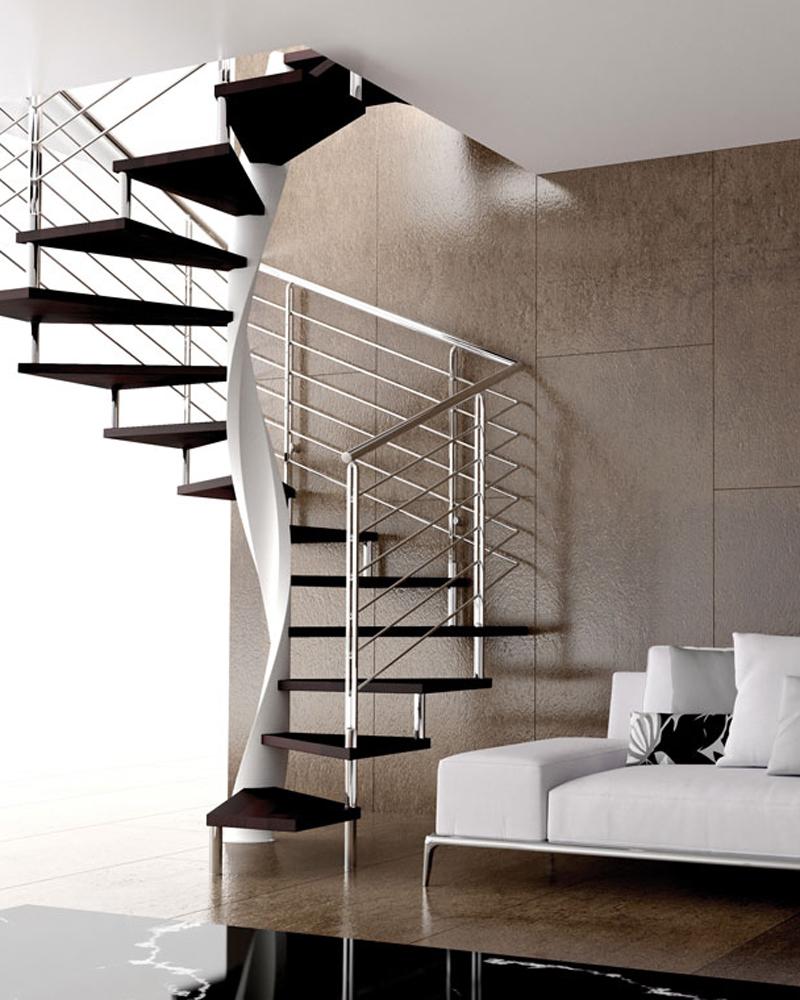 современная квадратно-винтовая лестница со спиральным столбом