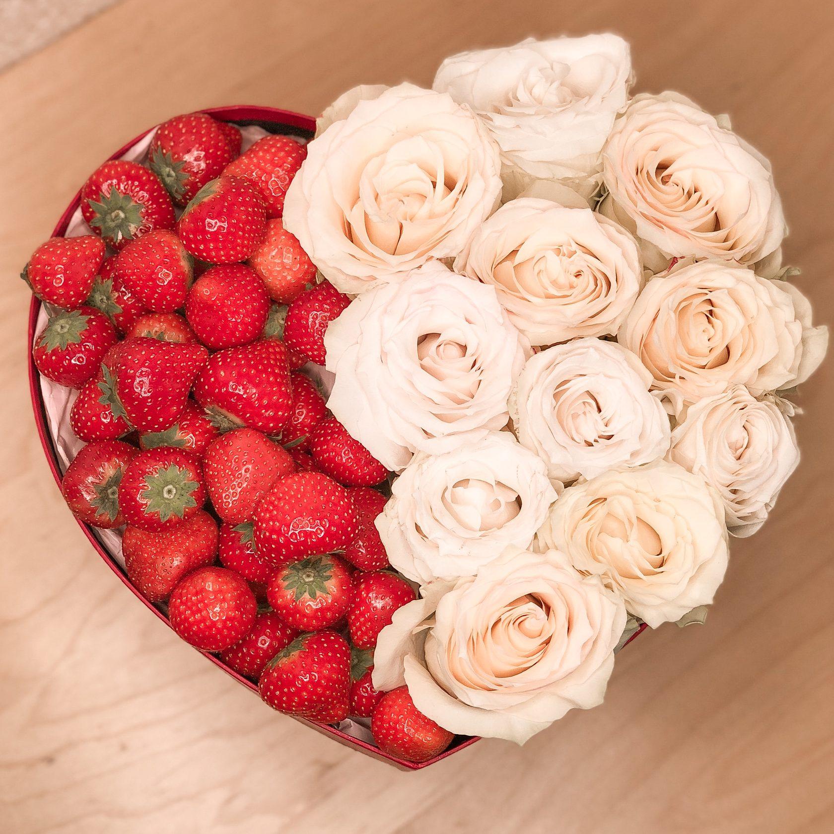 Букет роз красивый фото и клубника