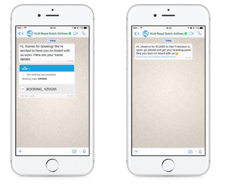 Авиакомпания KLM активно использует WhatsApp в коммуникации со своими клиентами