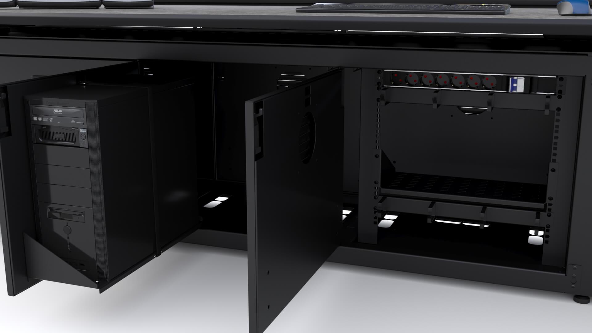 Назначение технических отсеков в диспетчерской мебели
