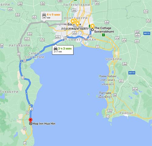Дорога от Бангкока до Хуахина.