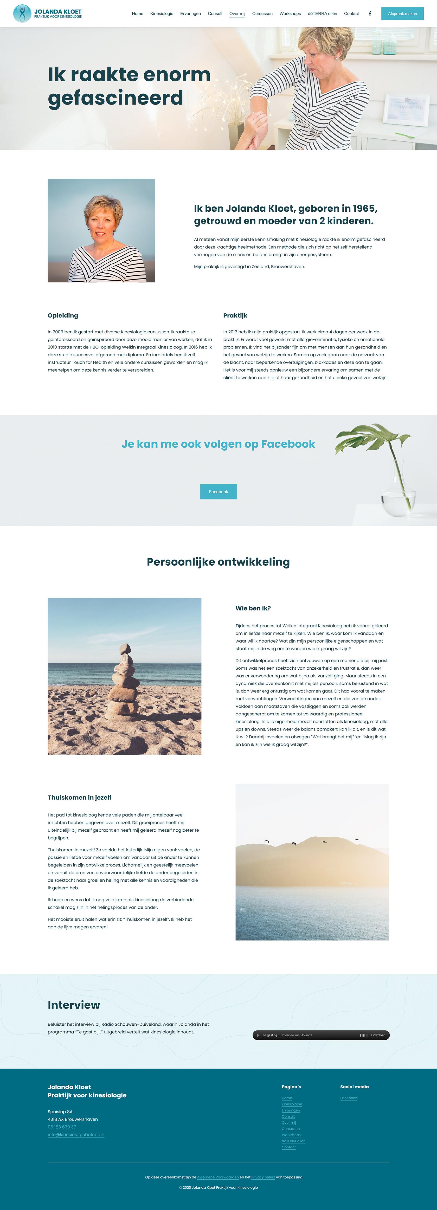 Website ontwerp Over mij pagina Jolanda Kloet | Praktijk voor kinesiologie