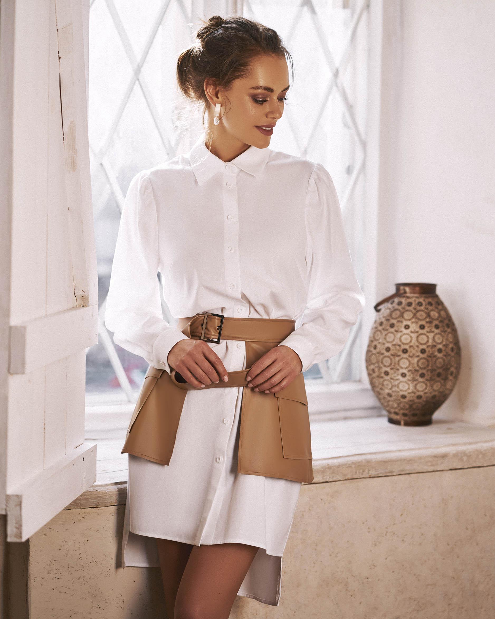Платье Рубашка С Поясом Баской
