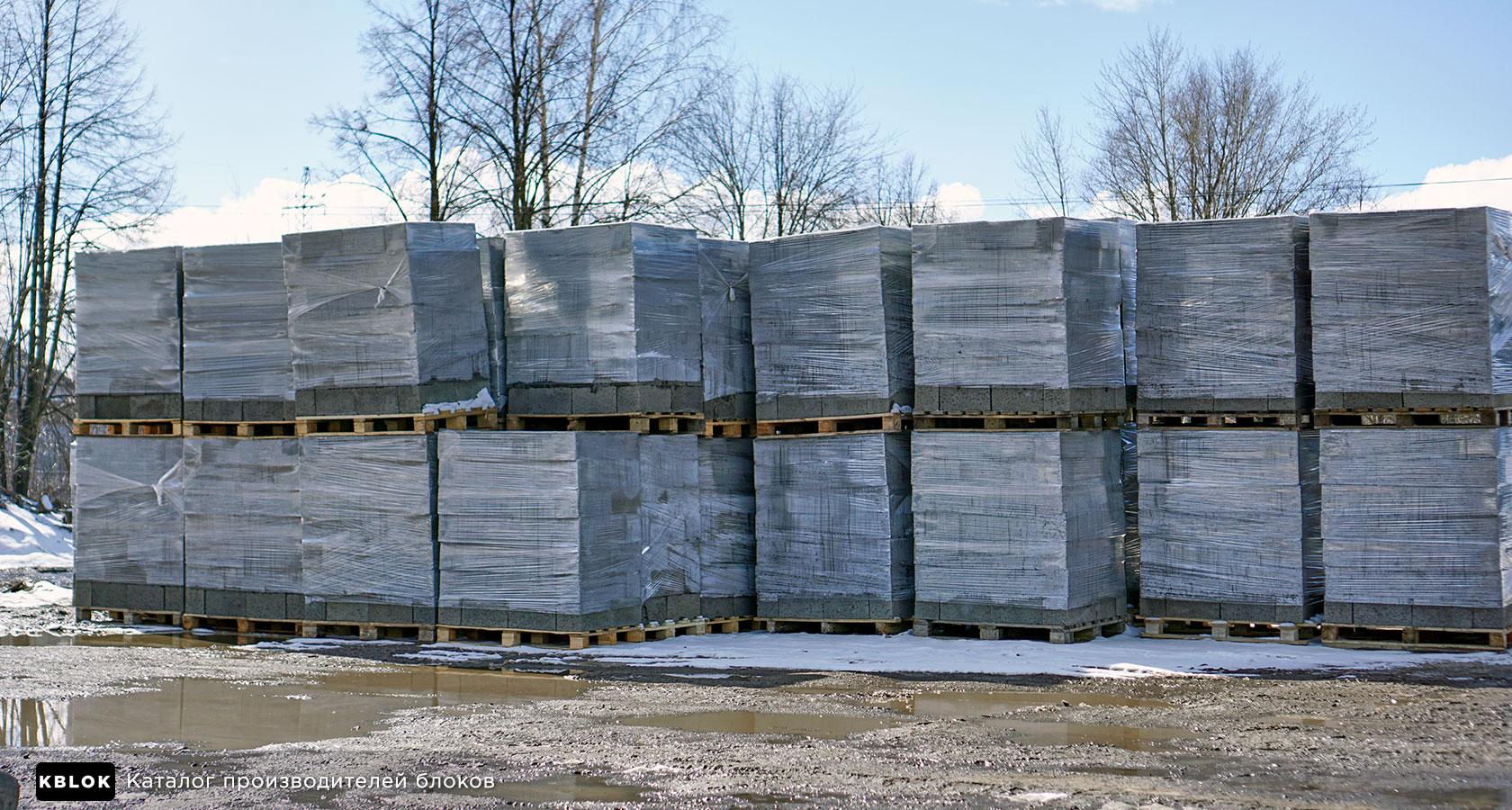 складские запасы керамзитобетонных блоков компании Кедр