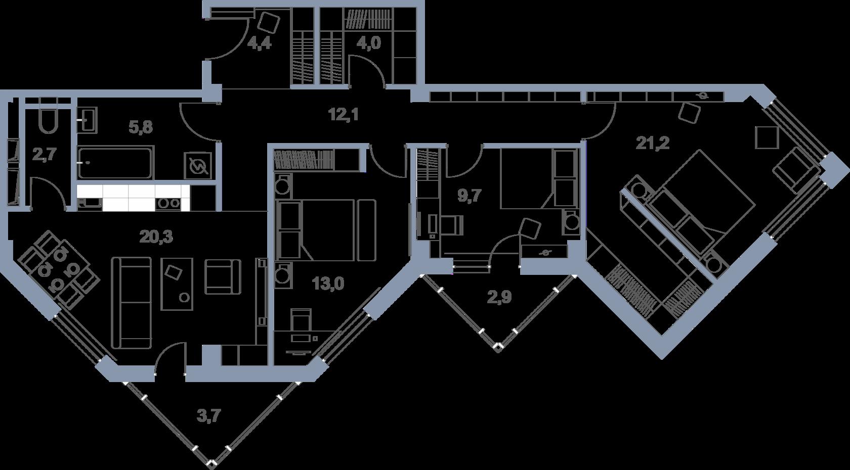 Планировка 4-комнатной квартиры в ЖК Первый Зеленоградский
