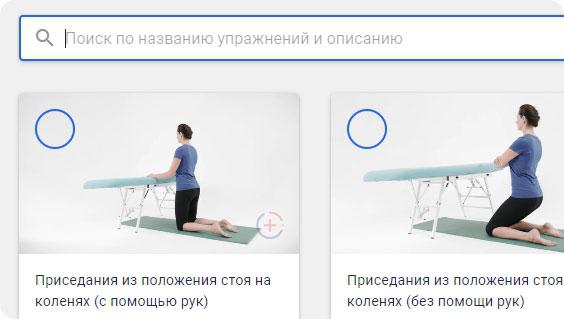 Строка поиска упражнений в каталоге feezio