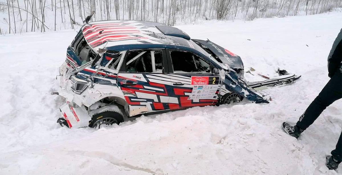 Volkswagen Polo GTI R5 Николая Грязина и Константина Александрова после аварии, Otepää Talveralli 2021