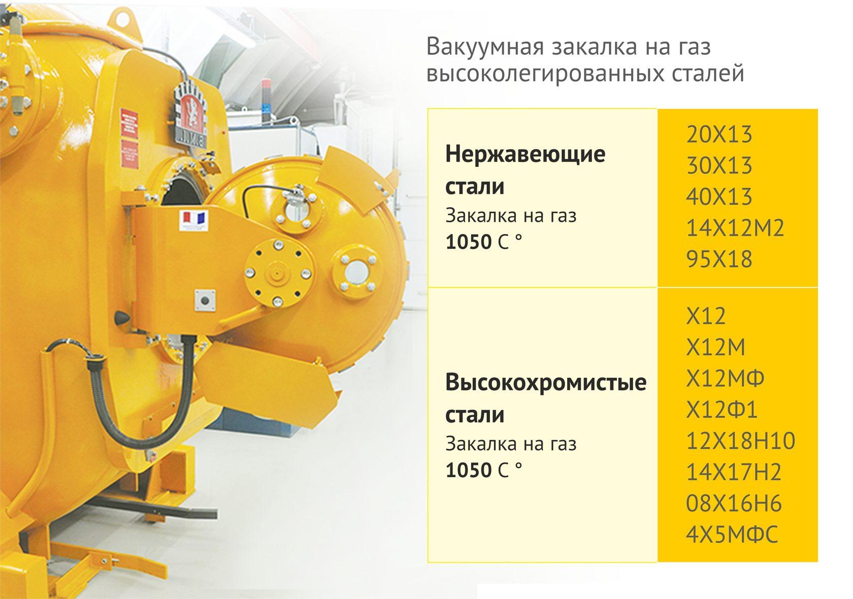 Вакуумная термообработка высоколегированных сталей