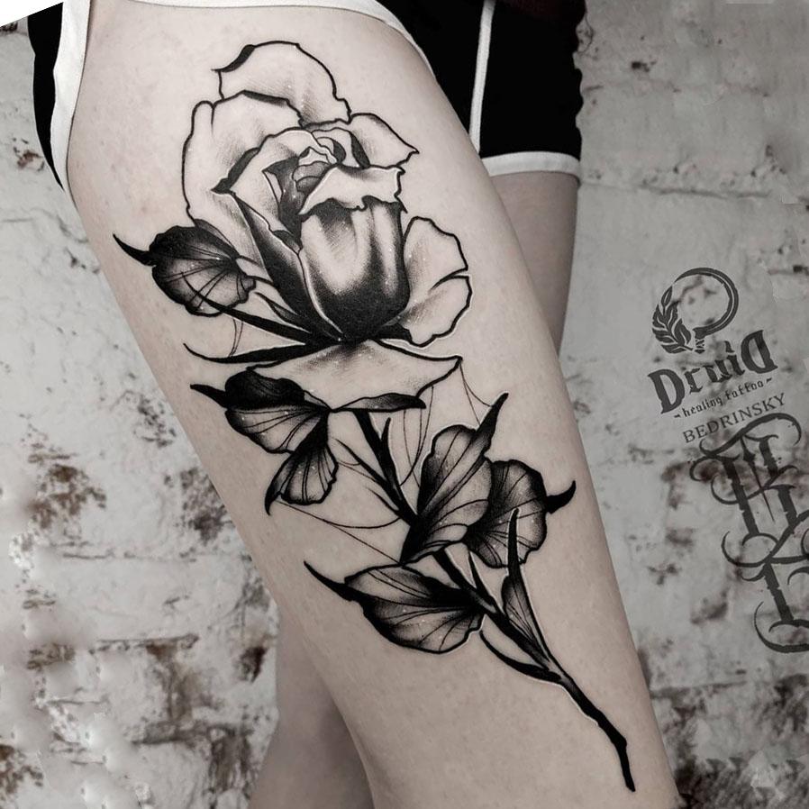 Черно белые тату, готика, цветы