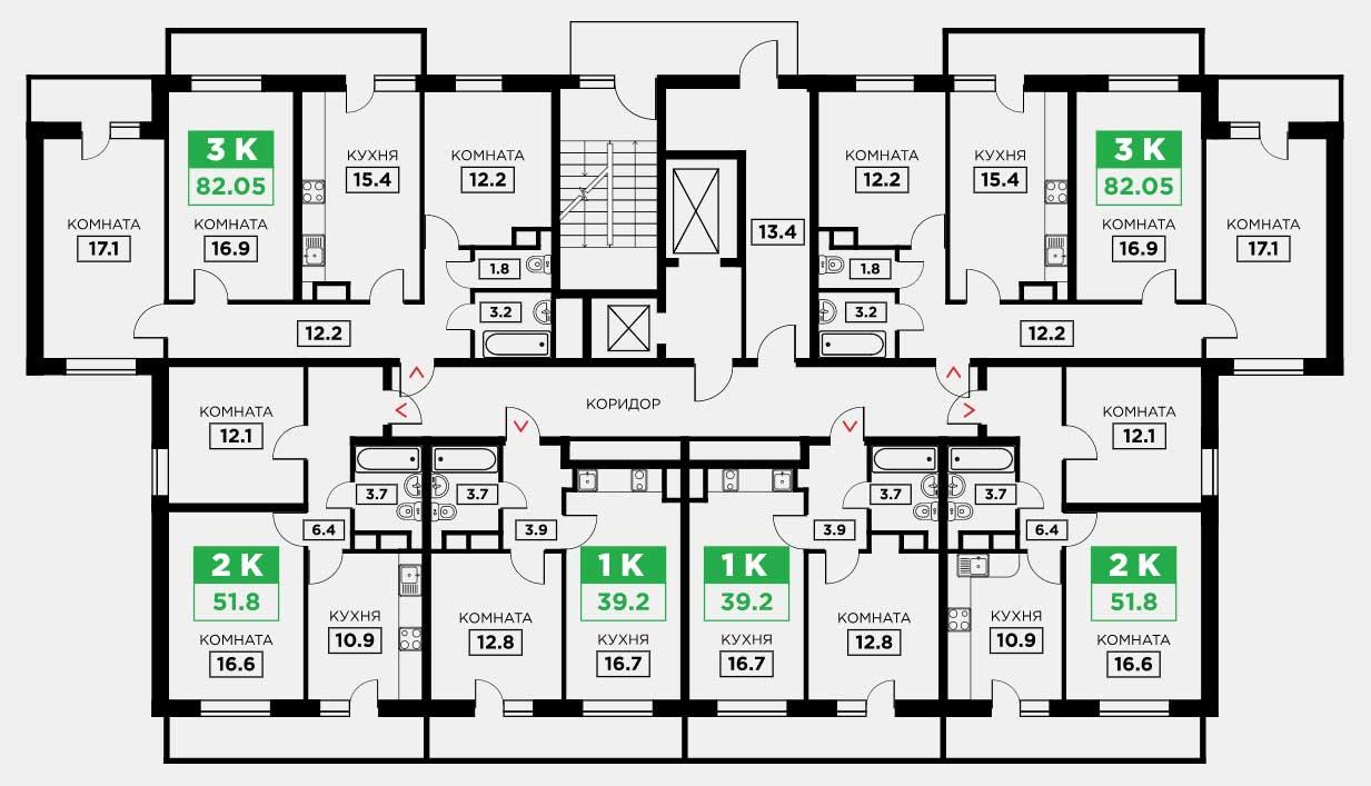 планировка квартир в ЖК Триоргия от застройщика квартира в Краснодаре
