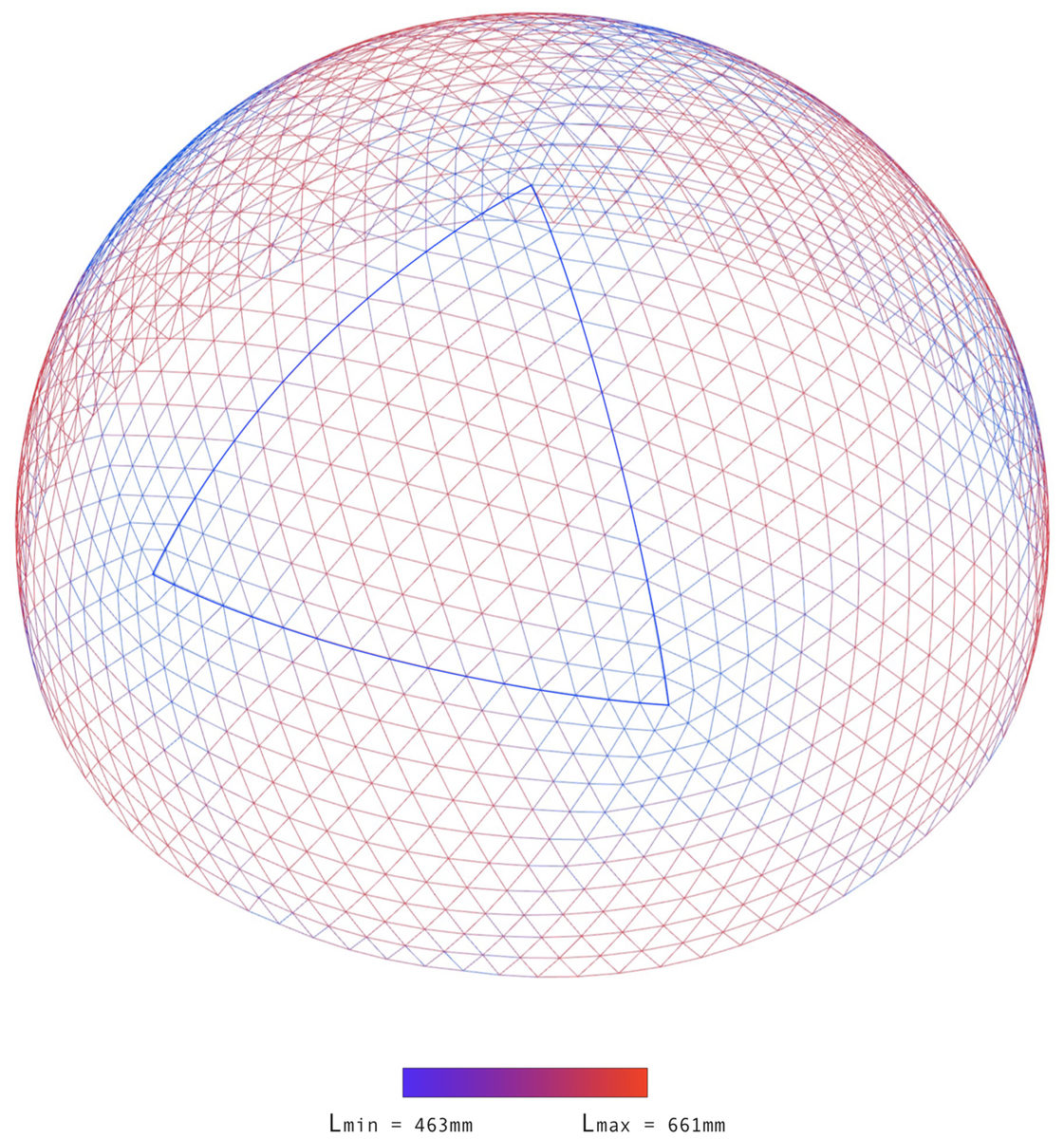 параметрическая модель длин элементов сетчатого купола