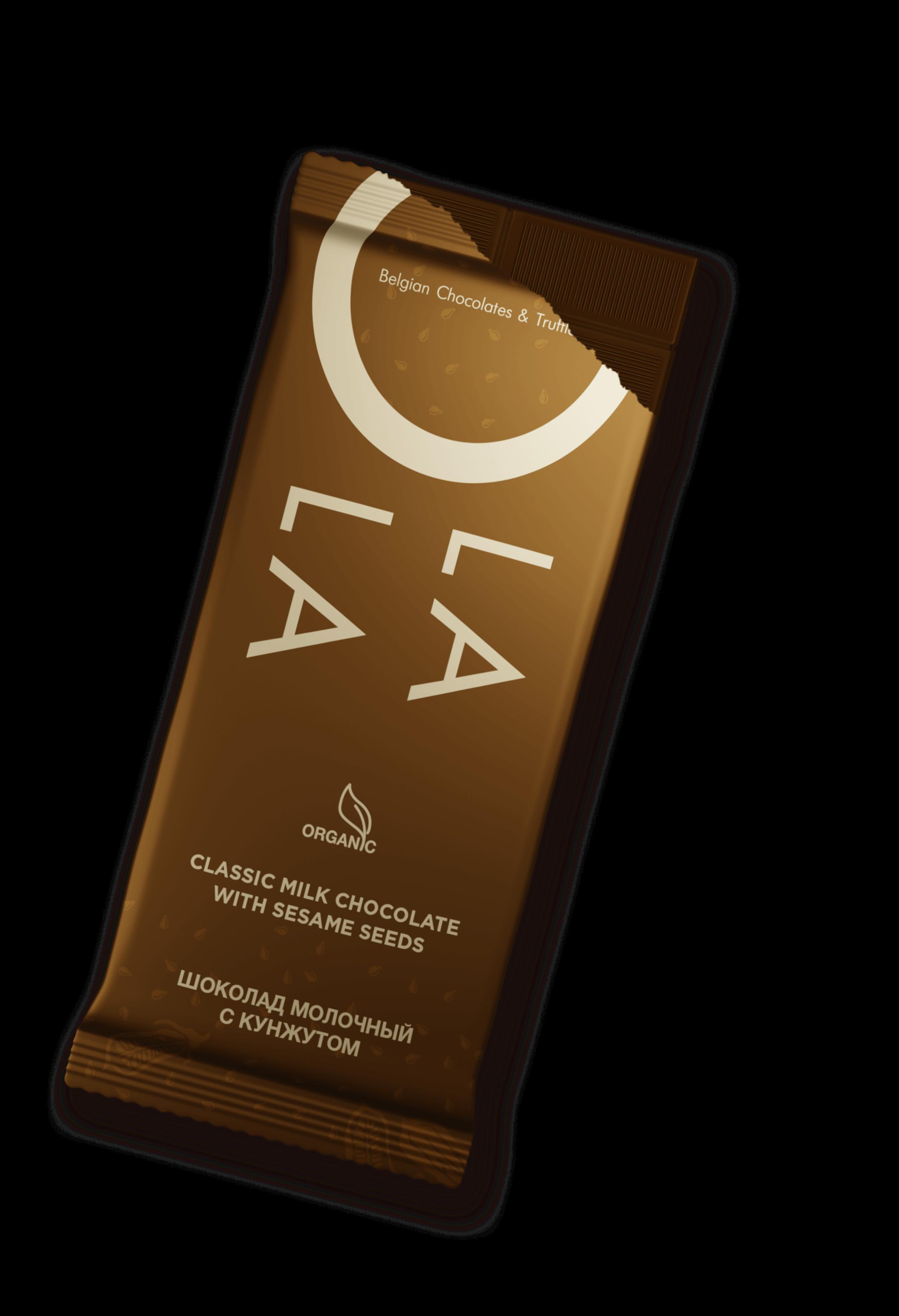 chocolate with sesame seeds Belgostar O LA LA - sesame
