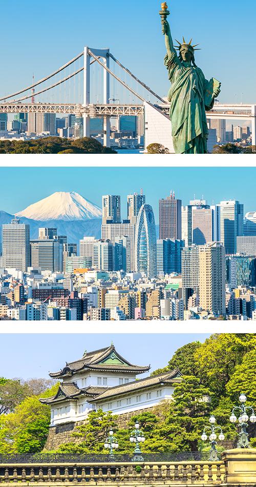 Копия Статуи Свободы возвышается на фоне Радужного моста в Токио