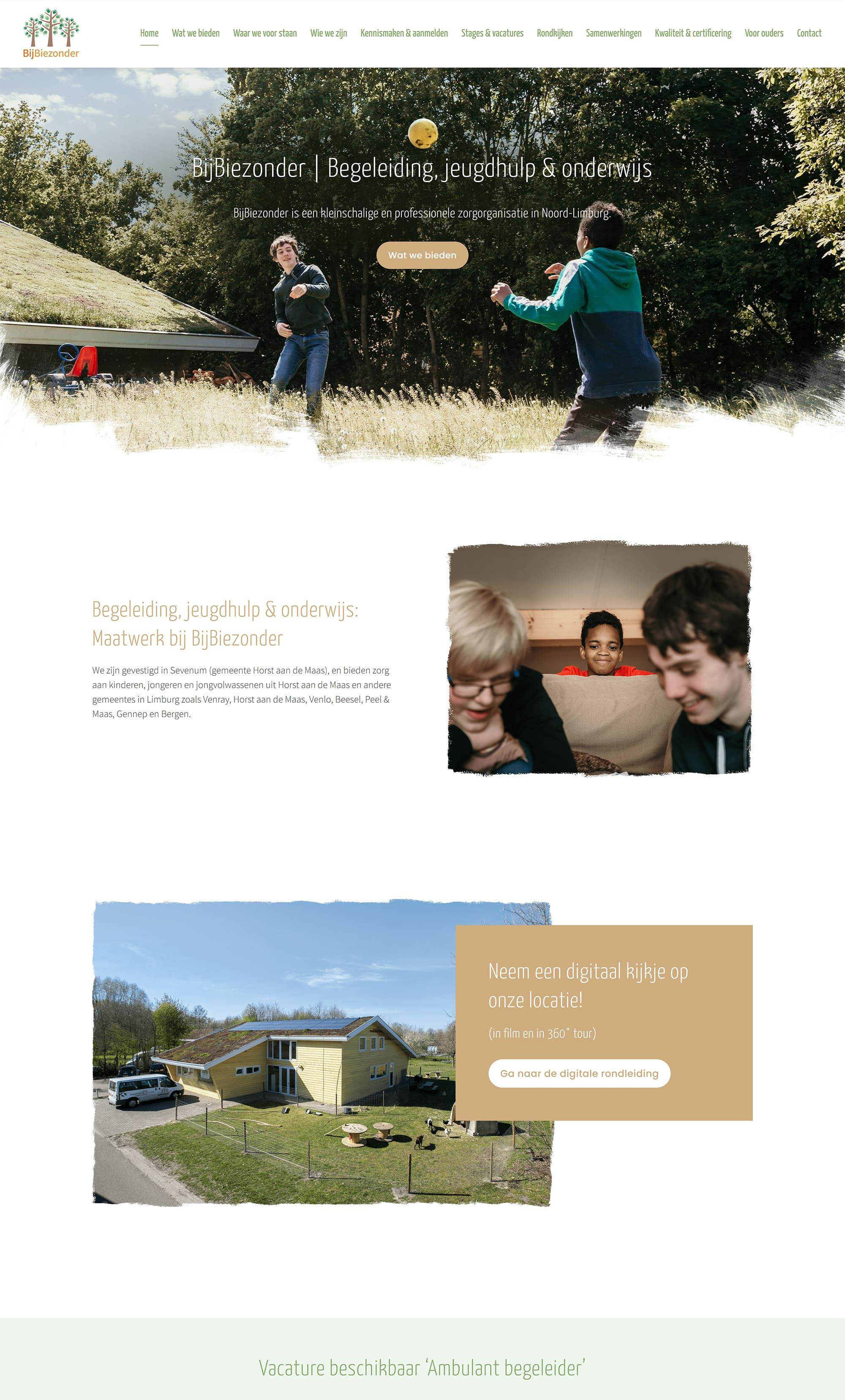 Website voorbeeld van project BijBiezonder
