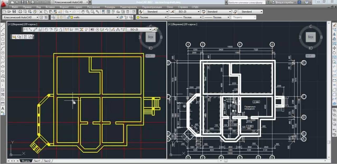 Так выглядит чертеж в dwg. Его можно сразу автоматически перенести в 3ds Max, но обычно дизайнеры поднимают на его основе стены заново для удобства