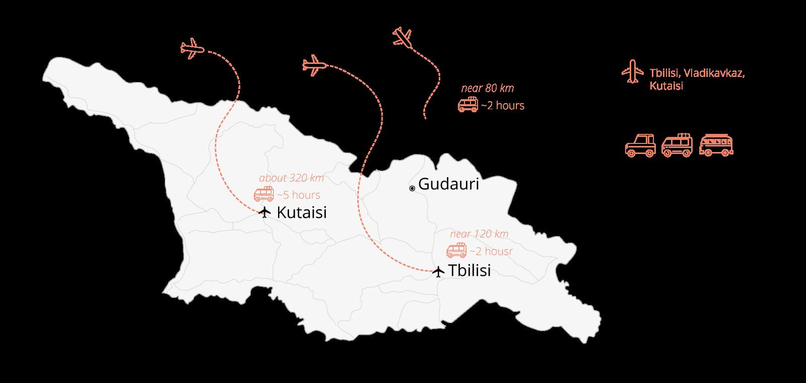 Transfer to Gudauri transfer to Tbilisi airport Vladikavkaz and