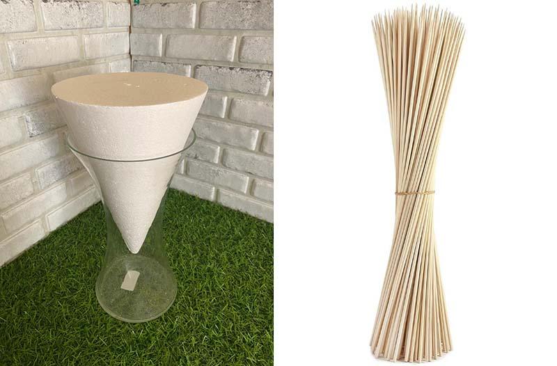 Пенопластовый конус и бамбуковые шпажки