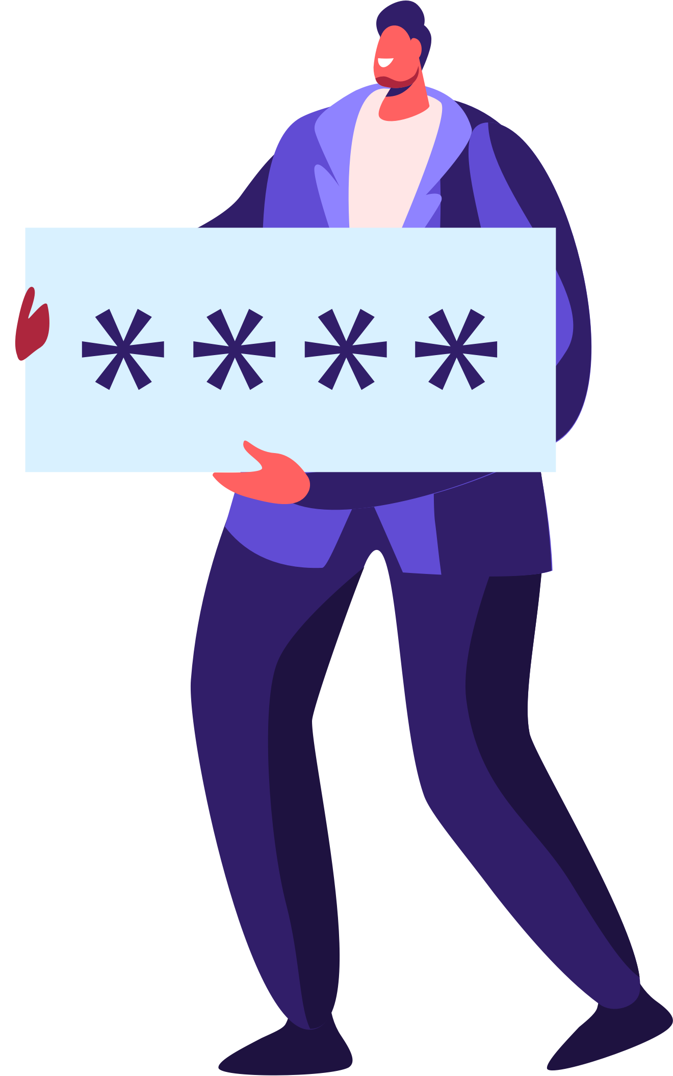 Illustration eines Mannes mit einem Schild in der Hand