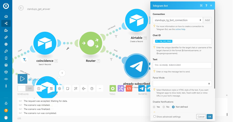 integromat module telegram bot send a text message or a reply