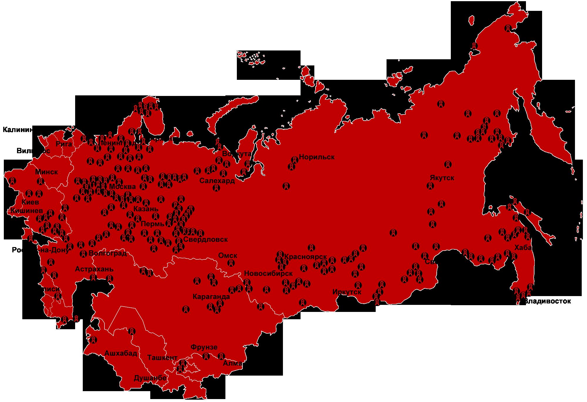 Интегральная карта лагерей системы ГУЛаг, существовавших с 1923 по 1967 годы, на основании данных правозащитного общества «Мемориал»