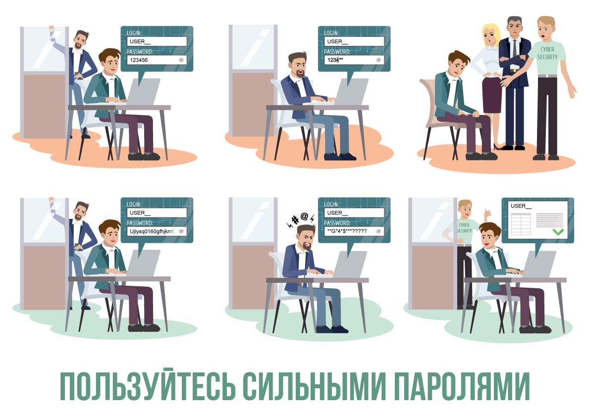 Иллюстрации по информационной безопасности. Пользуйтесь сильными паролями