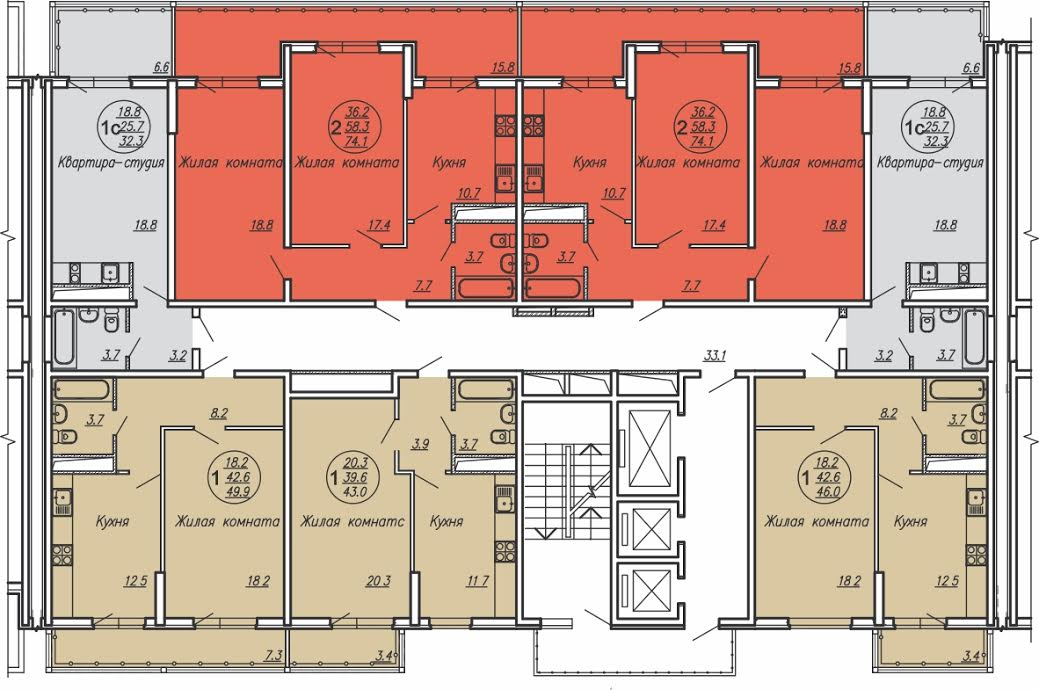 Планировки квартир ЖК Маршал в Краснодаре