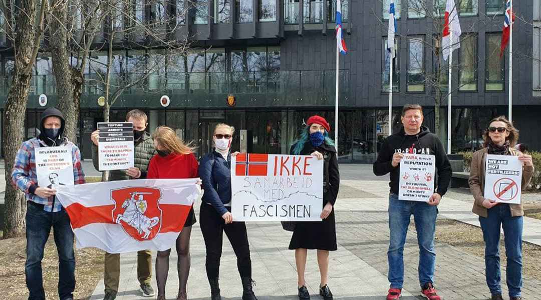Belarusians of Lithuania at the Norwegian Embassy in Vilnius (photo: Strike Committee of JSC