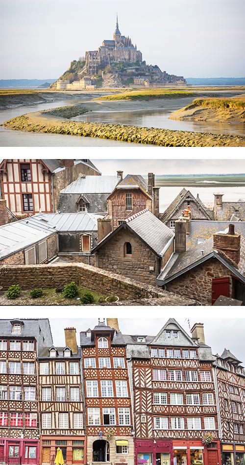 Крепость Мон-Сен-Мишель в отдалении в утреннем осеннем тумане