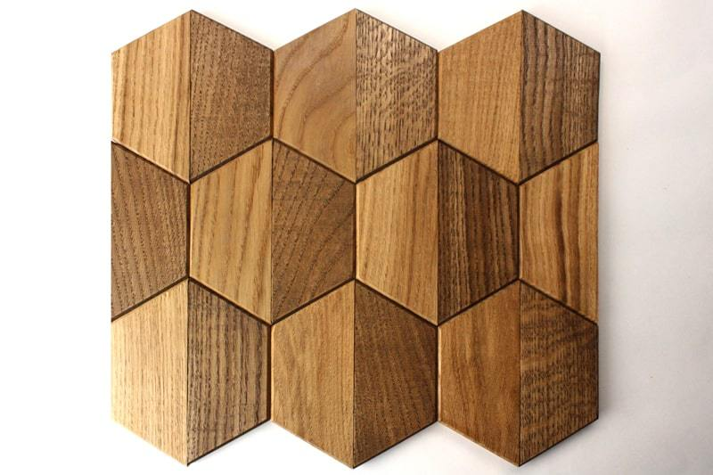 Деревянная мозаика с 3D эффектом, серия «Гексо», размер чипа 120×139 мм. цвет: натуральный и орех