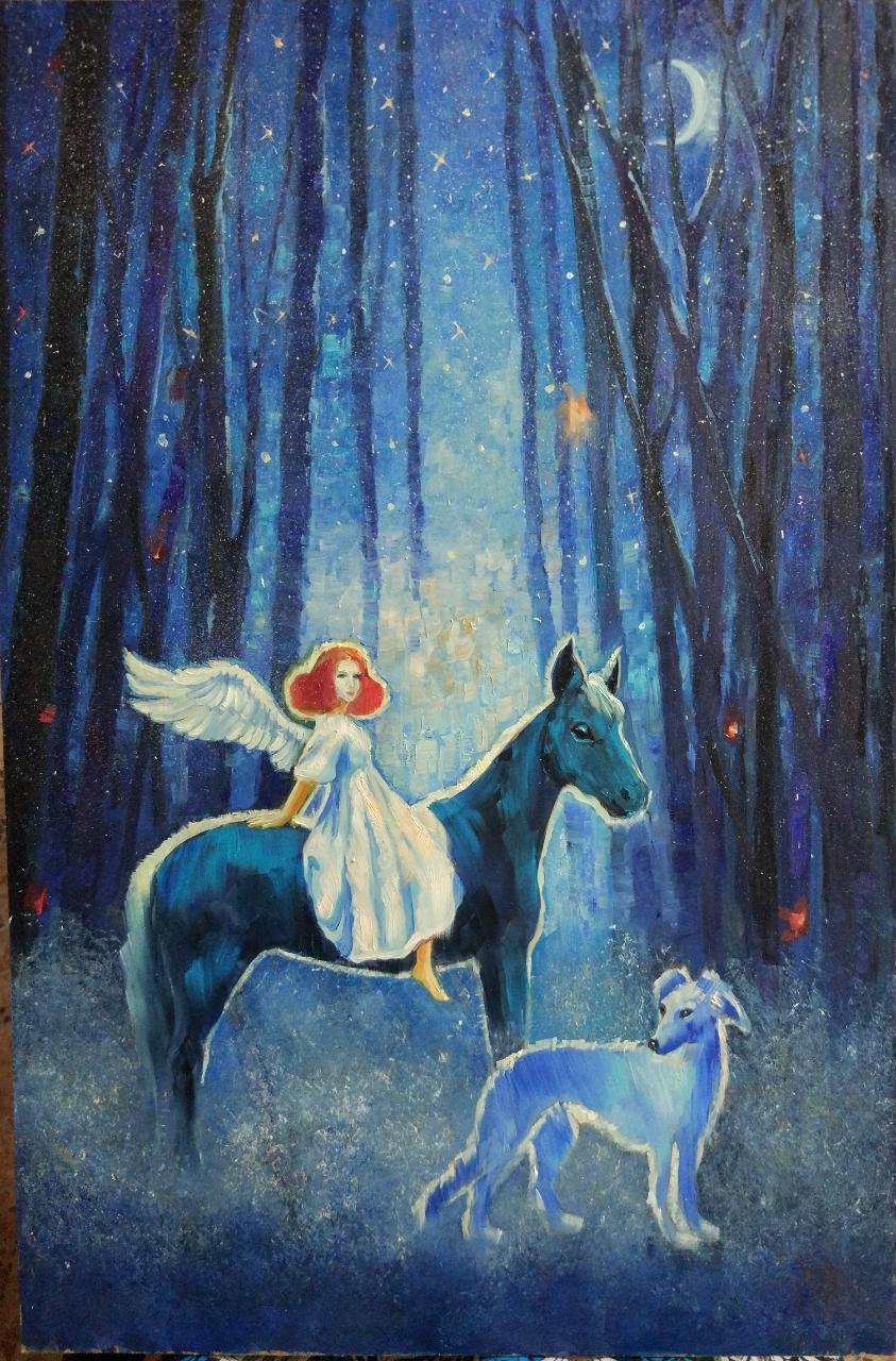 Корсунская майя / тема «Поэзия»: «Нынче я гость в небесной стране твоей…» / масло