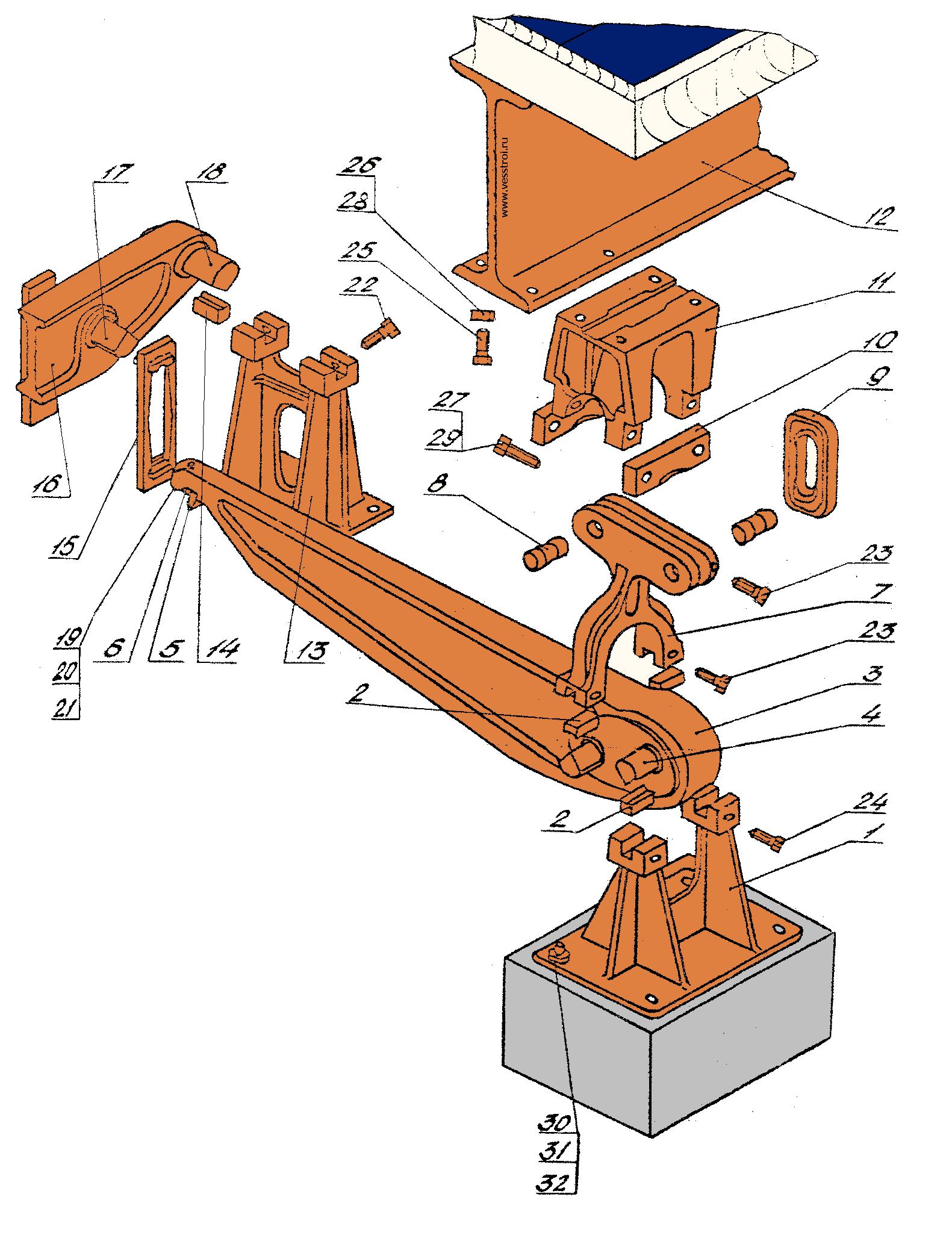 Элементы опорной части весов рычажных механических  5002 РС-30Ц13А (5042РС-30ДЦ24А), 5003 РС-60Ц13А (5043РС-60ДЦ24А)