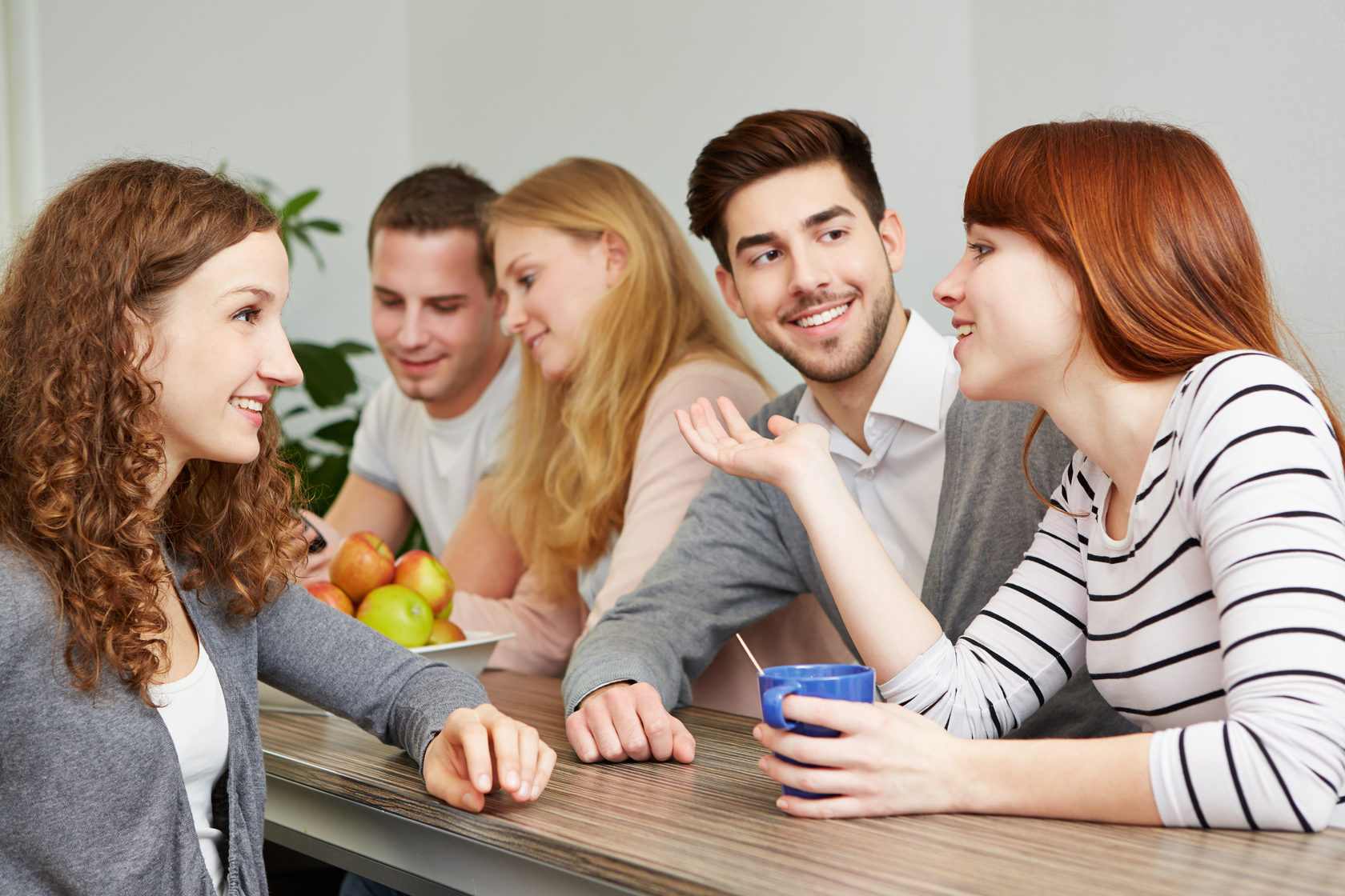 Diverse Businesspeople Talk On Webcam Computer Conference Together Stock Photo