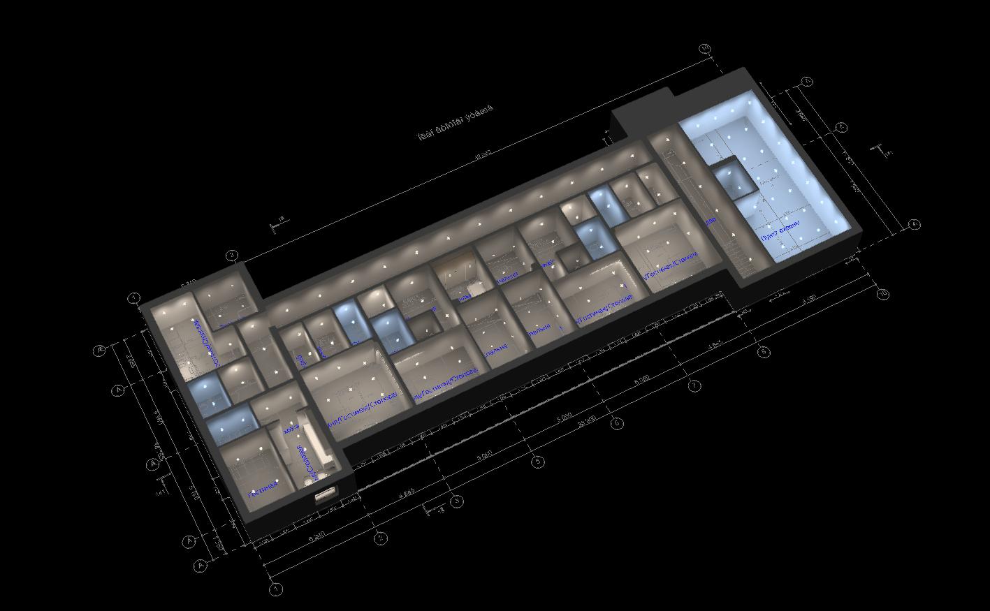 Визуализация освещения для второго этажа на виде сверху