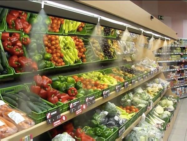 Увлажнение витрин в магазинах и супермаркетах